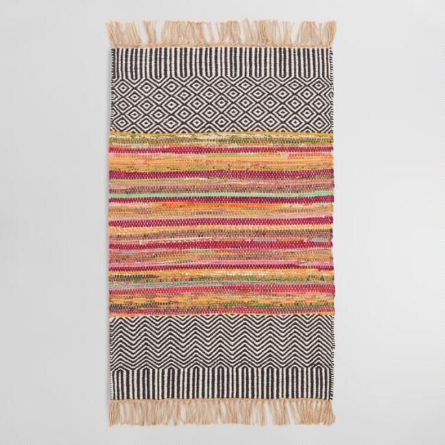Small Black Geo Chindi Reversible Amarah Area Rug