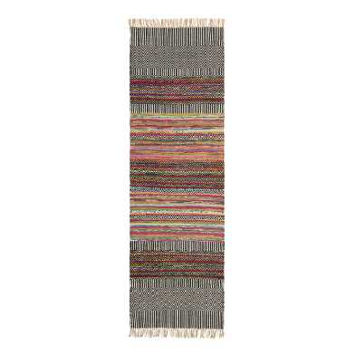 Black Geo Chindi Reversible Amarah Floor Runner