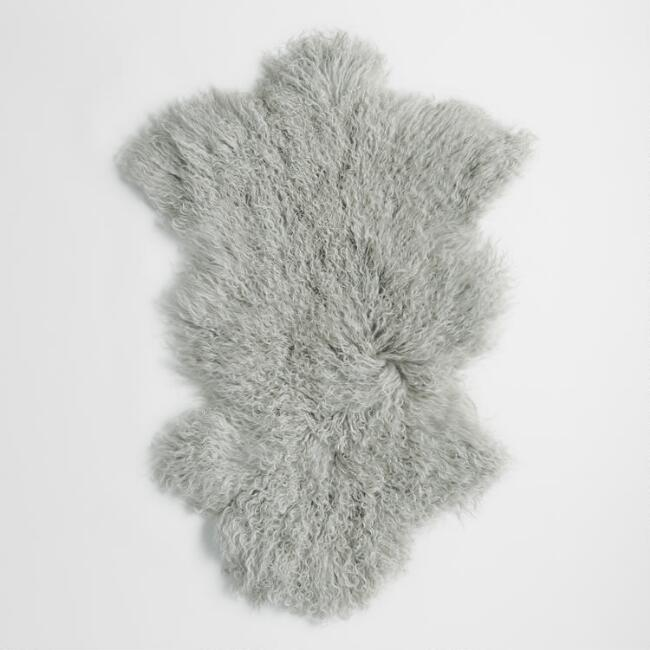 Light Gray Mongolian Sheepskin Area Rug