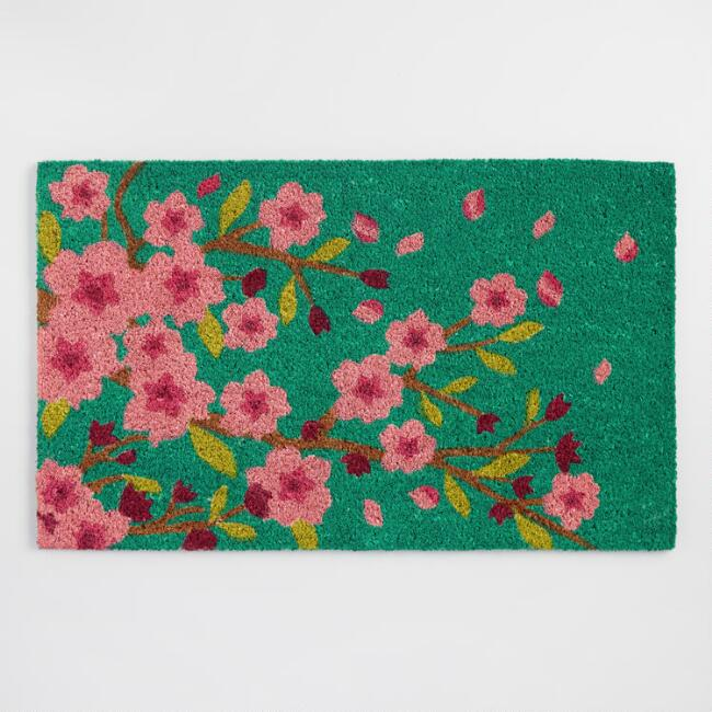 Teal Cherry Blossom Doormat