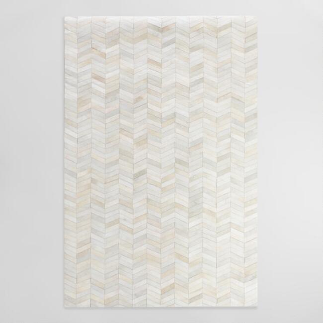 Pieced Chevron Brazilian Leather Area Rug