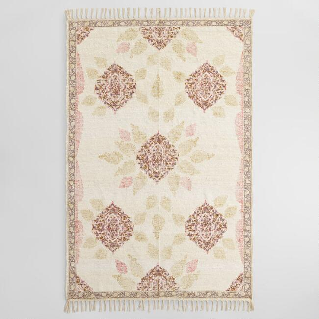 Ivory Block Print Linen Camille Area Rug