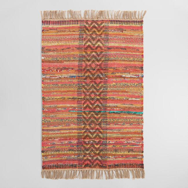 2'x3' Multicolor Stripe Block Print Jute and Chindi Area Rug