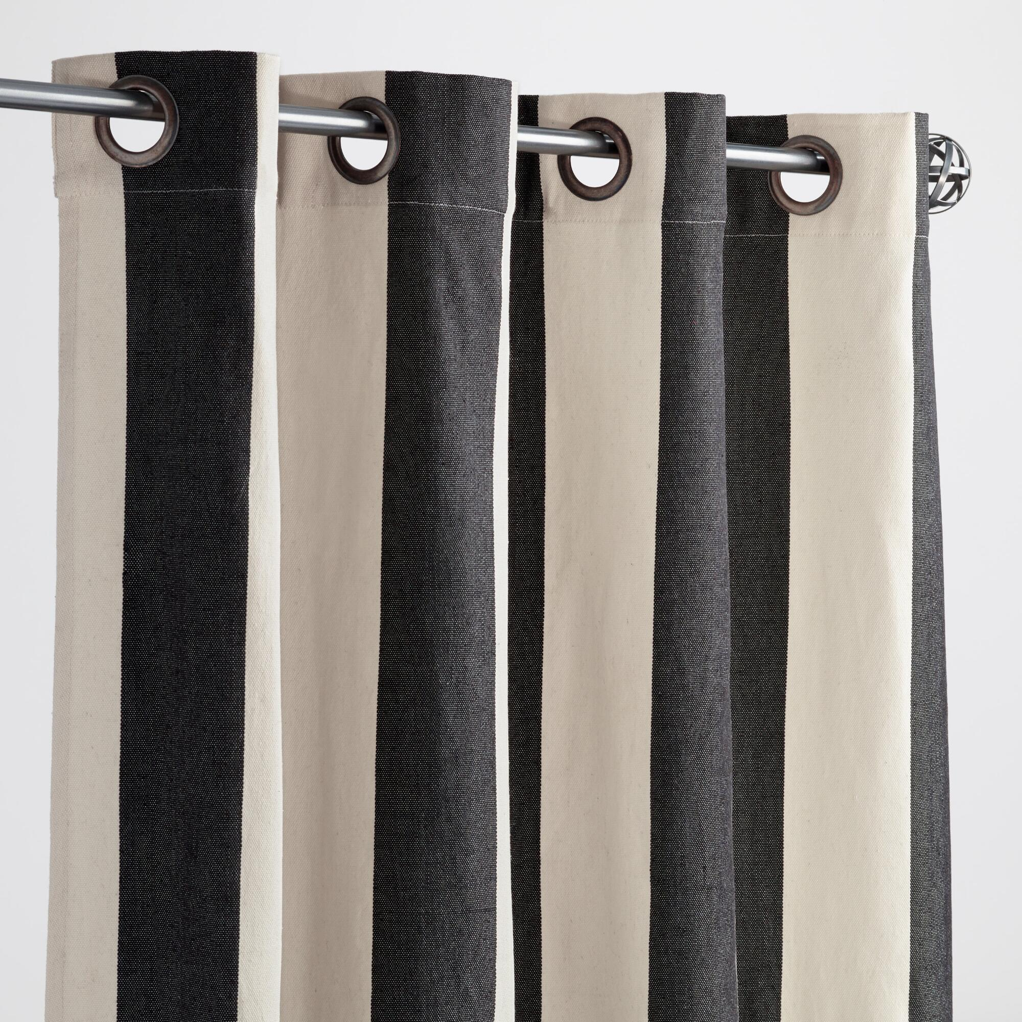 Outdoor curtains - Black And White Striped Awning Outdoor Curtains Set Of 2 World Market