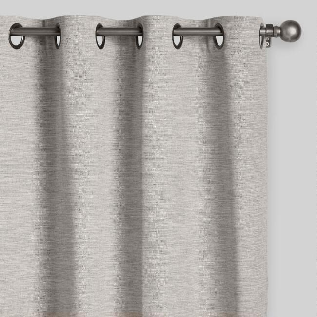 Heather Gray Cotton Curtains Set of 2