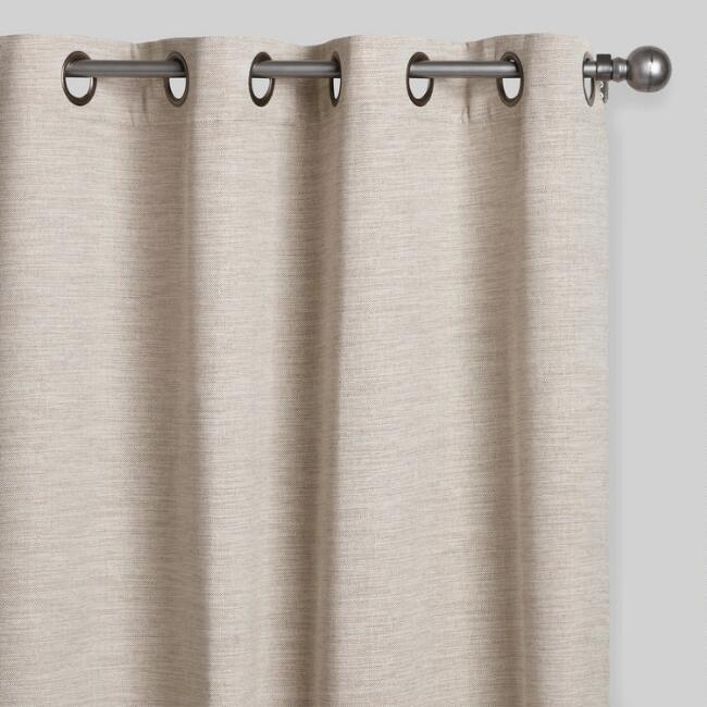 Heather Oatmeal Cotton Curtains Set of 2