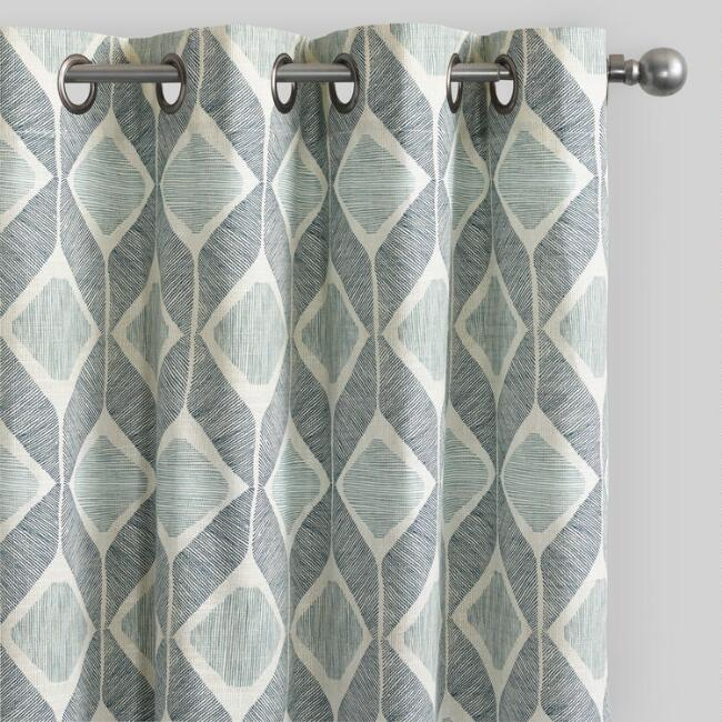 Indigo Blue Cotton Morris Curtains Set of 2
