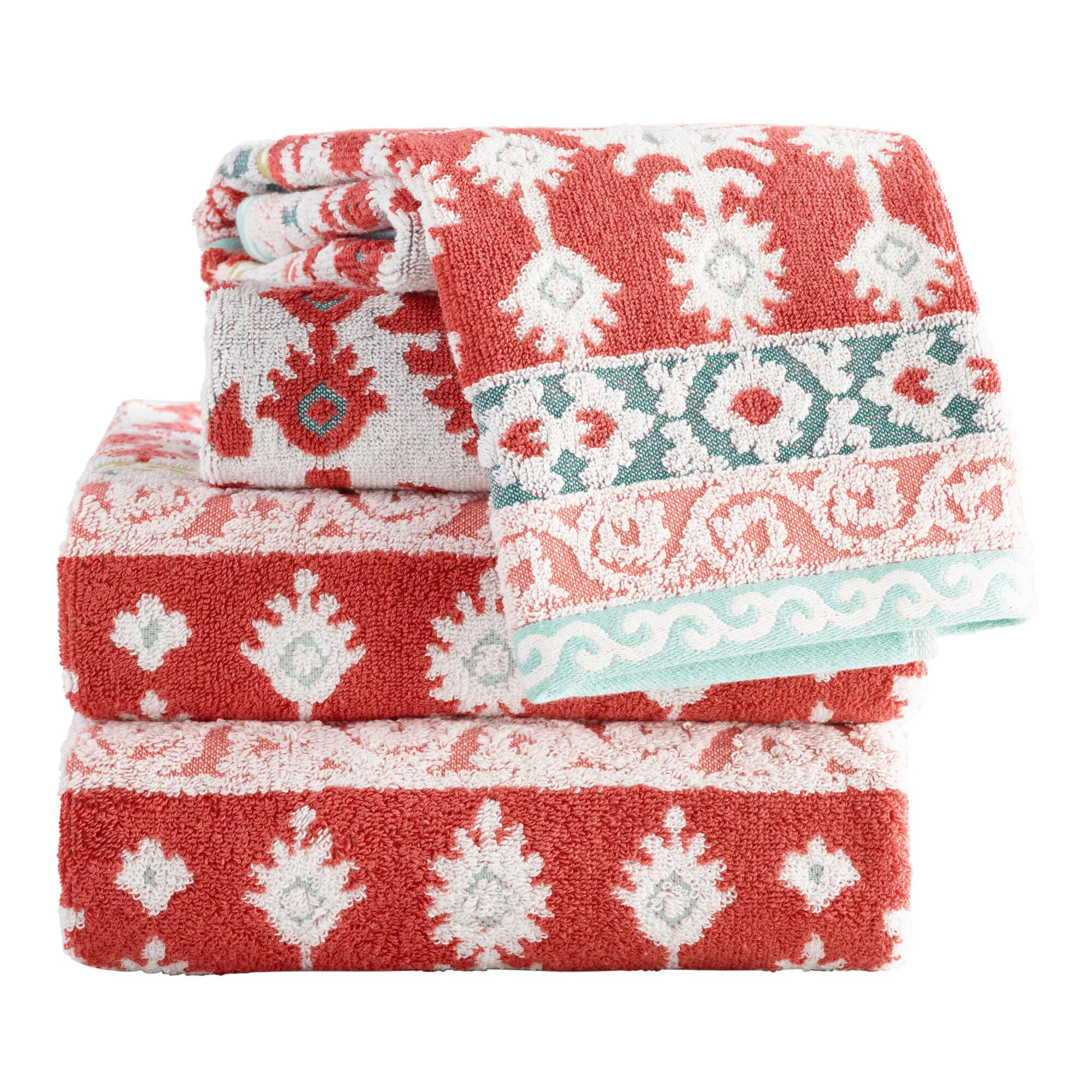 Coral and Aqua Ikat Miriam Sculpted Towel Collection by World Market