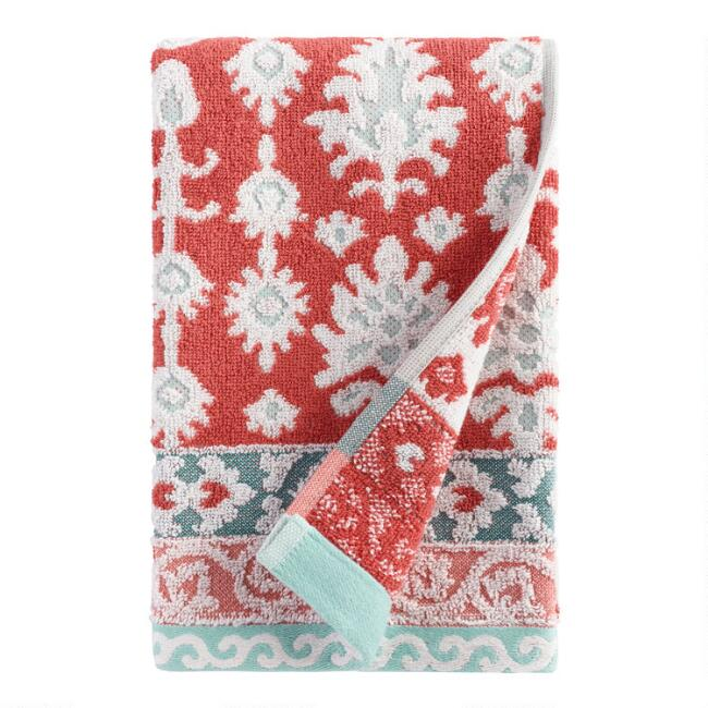 Coral and Aqua Ikat Miriam Sculpted Hand Towel