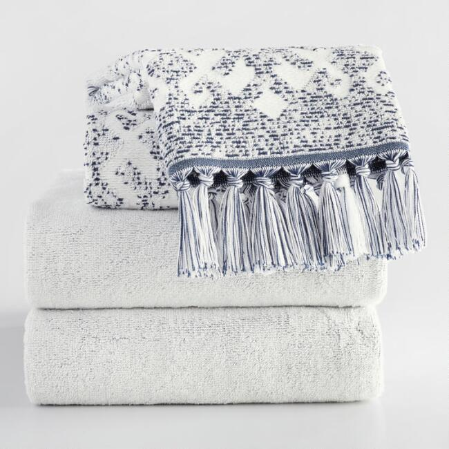 White and Indigo Tribal Jacquard Zahara Towel Collection