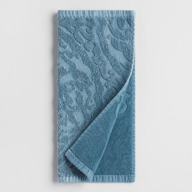 Blue Ogee Therese Sculpted Washcloths Set of 2