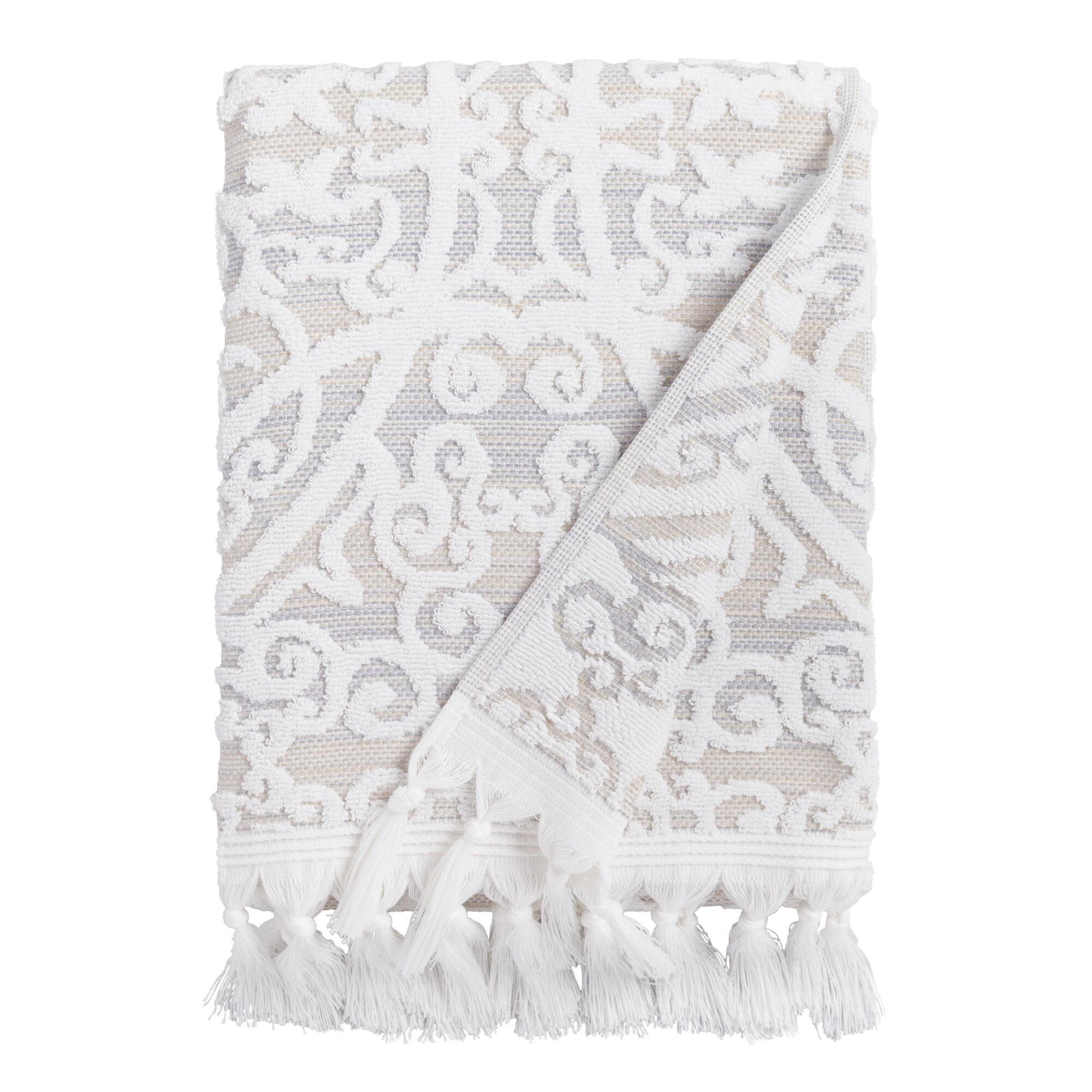 Taupe Medallion Scarlett Sculpted Bath Towel: Gray - Cotton by World Market