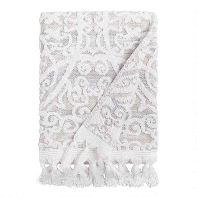 Taupe Medallion Scarlett Sculpted Bath Towel