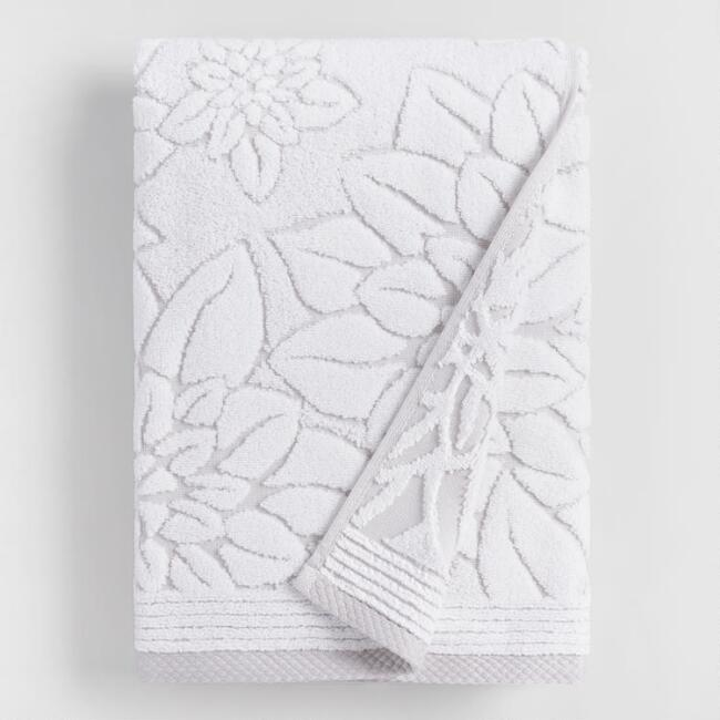 Gray Floral Angelica Sculpted Bath Towel