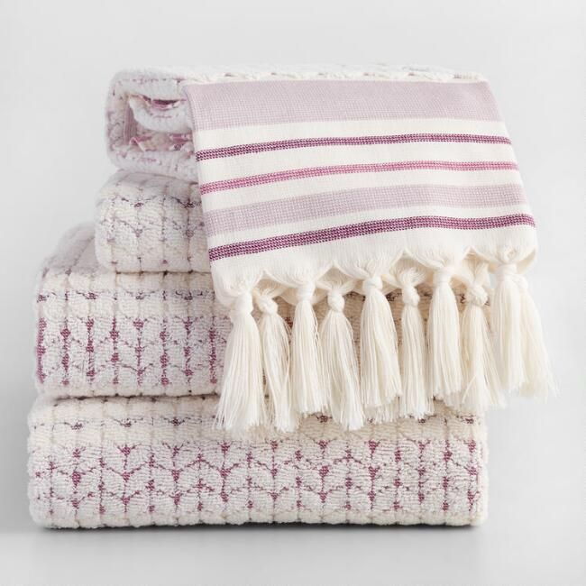 Lavender and Ivory Riley Sculpted Towel Collection