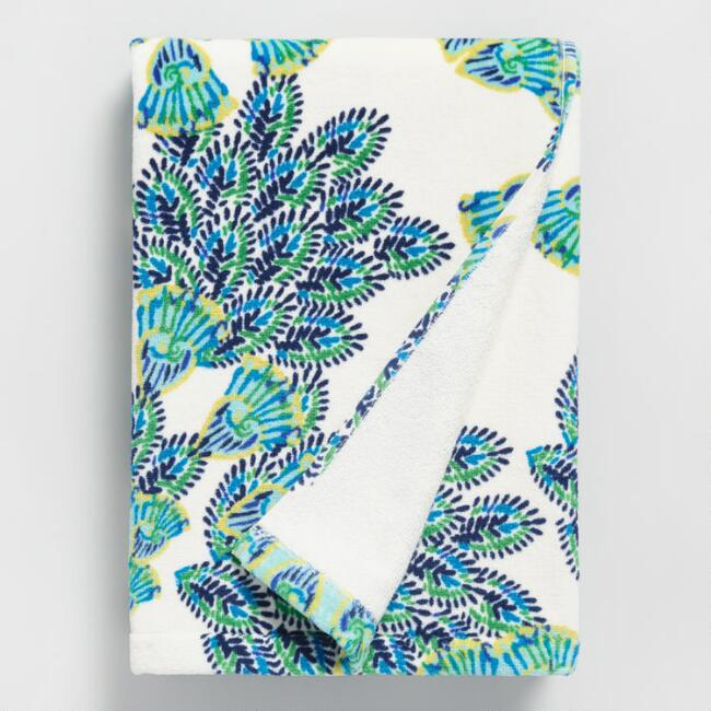 Blue and Green Peacock Printed Velour Bath Towel