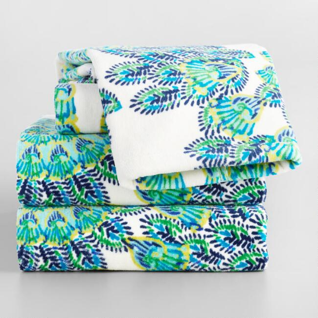 Blue and Green Peacock Printed Velour Towel Collection