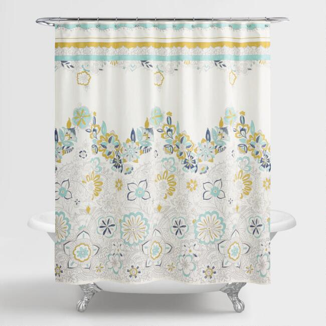 Shower Curtains   Shower Curtain Rings   World Market. Yellow And Teal Shower Curtain. Home Design Ideas