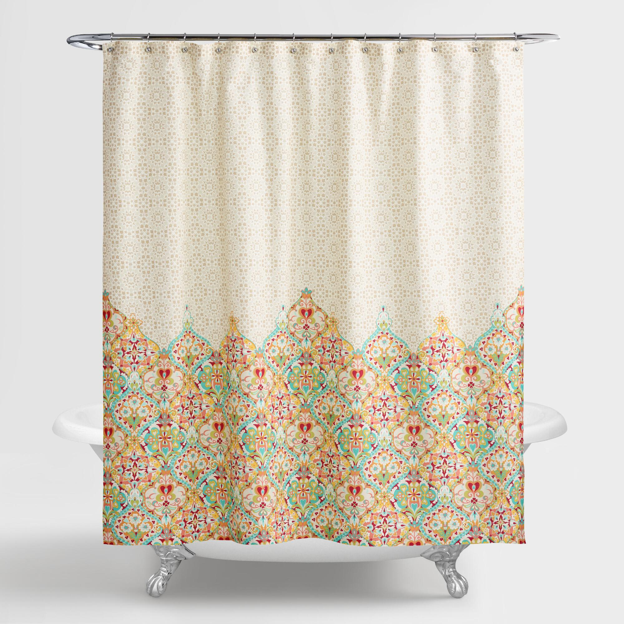 Shower Curtains  Shower Curtain Rings World Market - Chocolate coral and gold shower curtain