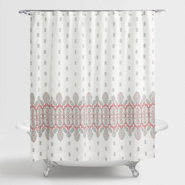 Aqua and coral indian devi shower curtain world market for Bathroom accessories for elderly in india