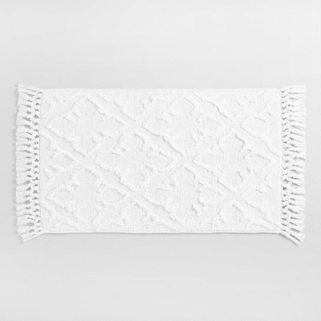 White Gate Woven and Tufted Bath Mat