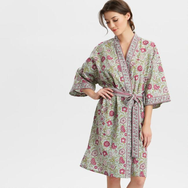 Aqua and Pink Floral Divya Robe
