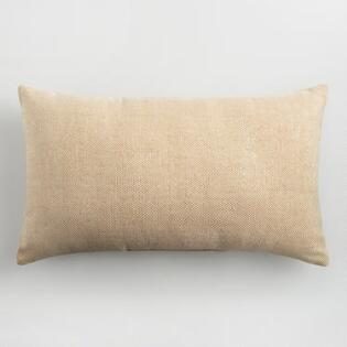 Natural and Gold Indoor Outdoor Lumbar Pillow. Decorative Outdoor Chair Cushions  Seat Cushions   Accent Pillows