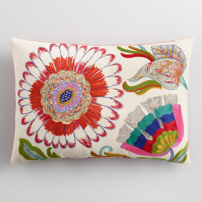 Floral Embroidered Indoor Outdoor Lumbar Pillow