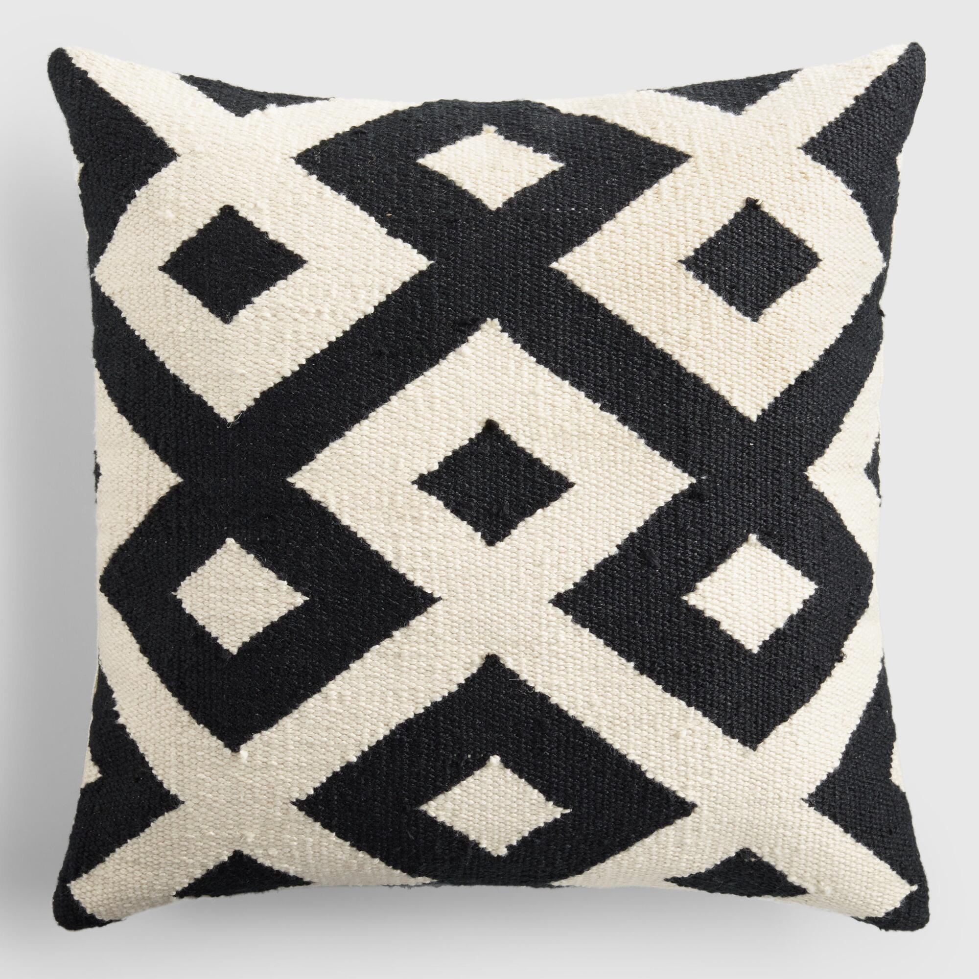 Black and Ivory Geometric Indoor Outdoor Patio Throw Pillow - Polyester - 18