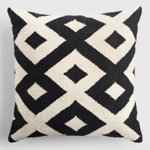 Black And Ivory Geometric Indoor Outdoor Throw Pillow World Market