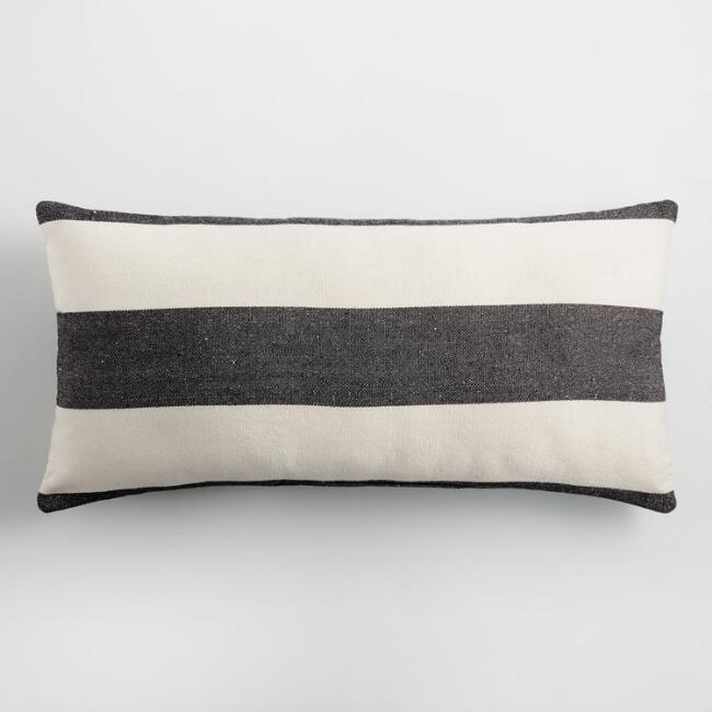 Black & White Striped Indoor Outdoor Lumbar Pillow