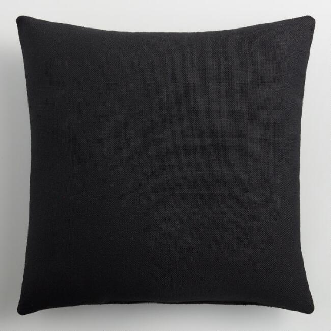 Black Indoor Outdoor Throw Pillow