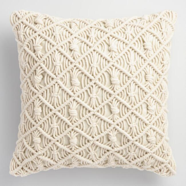 Jali Macrame Indoor Outdoor Throw Pillow