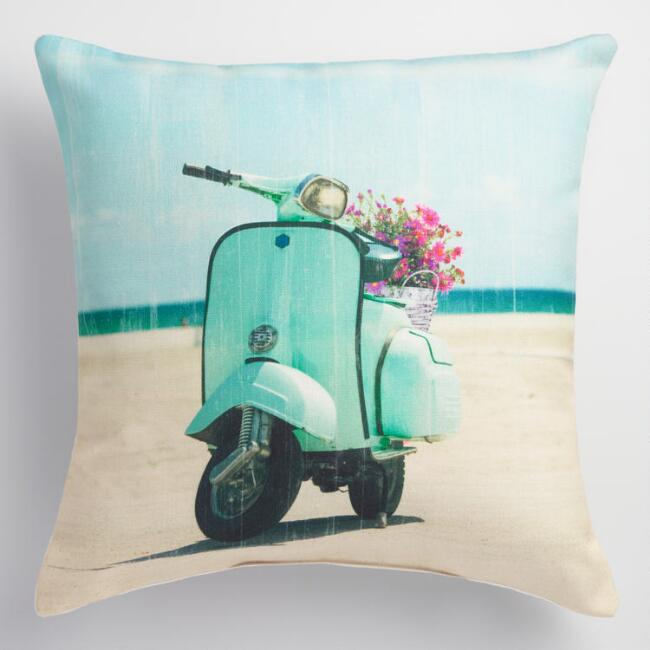 Aqua Scooter Indoor Outdoor Throw Pillow