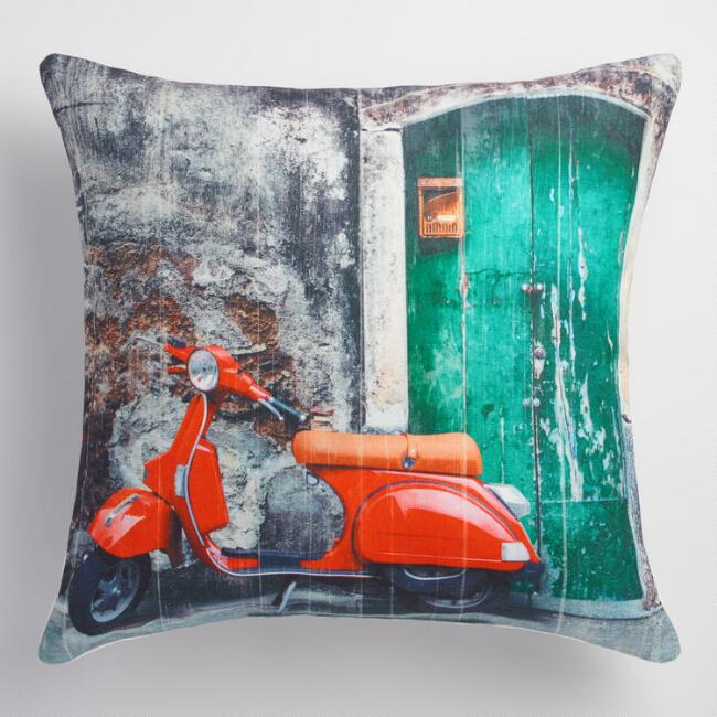 Red Scooter Indoor Outdoor Throw Pillow