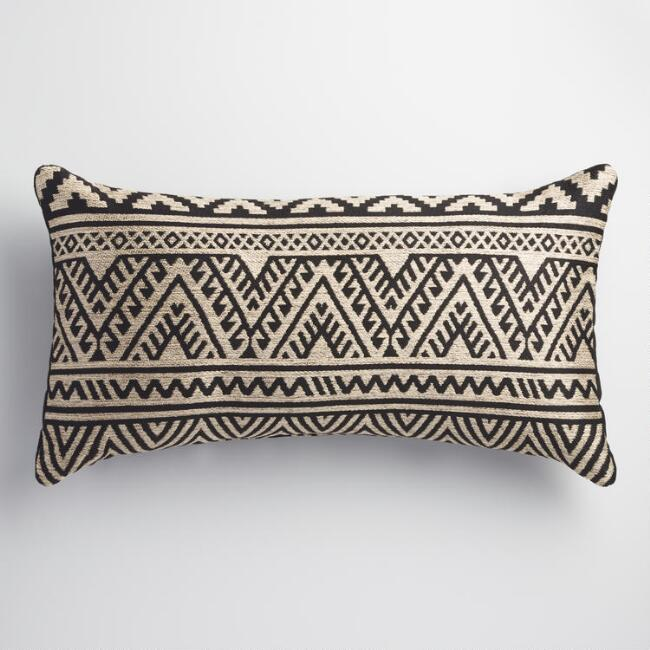Black and Taupe Kilim Indoor Outdoor Lumbar Pillow | World Market