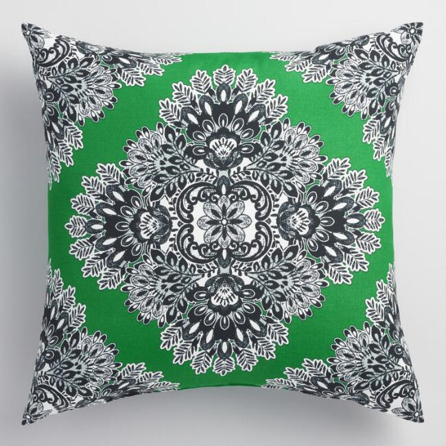 Green Esmeralda Outdoor Throw Pillow