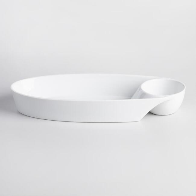 White Porcelain Oval Chip and Dip Dish
