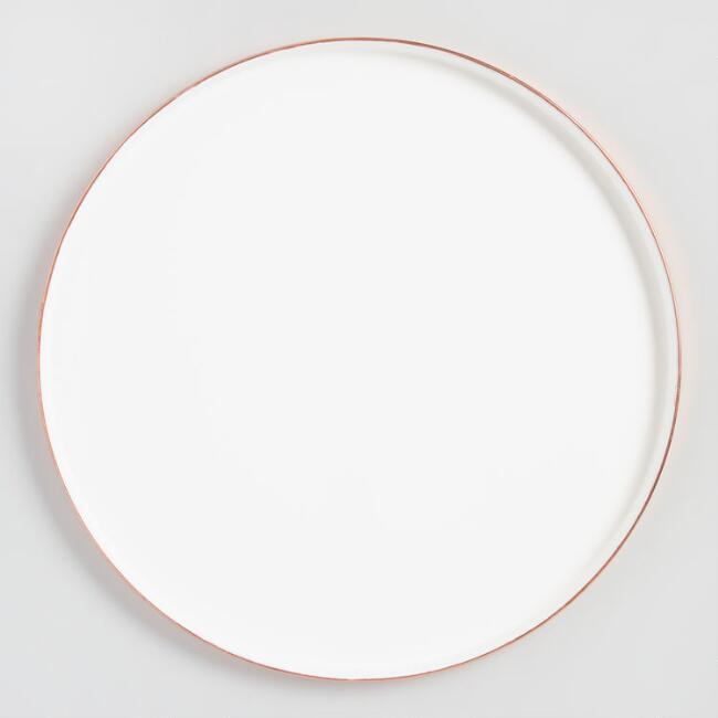 White Enamel Tray with Copper Base