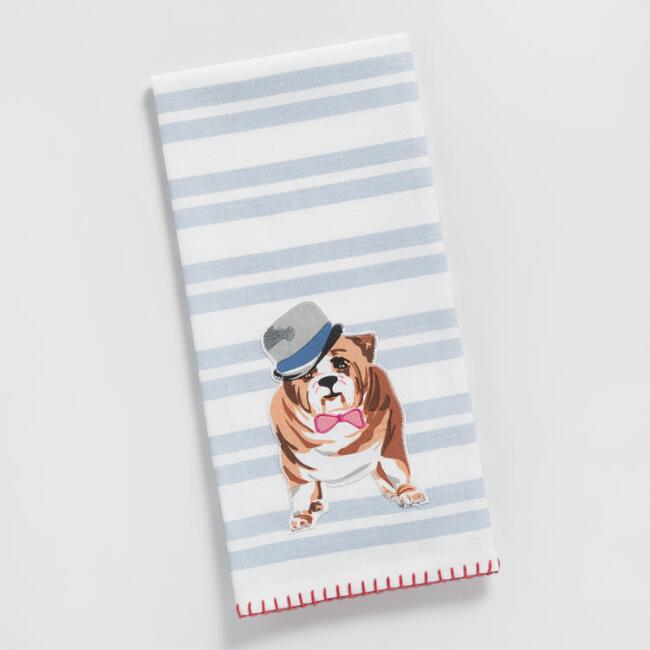 Bulldog Striped Embroidered Kitchen Towel