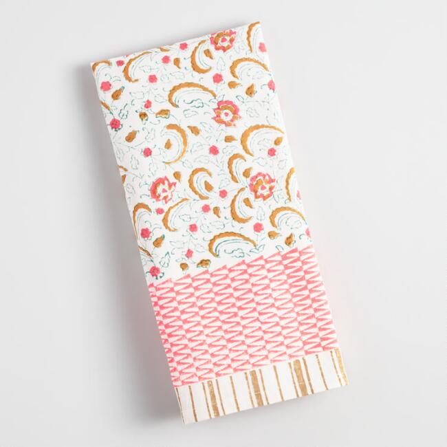Coral Floral Geo Block Print Kitchen Towel