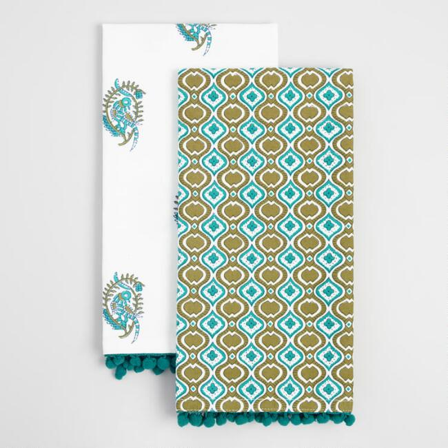 Teal and Green Bird Kitchen Towels Set of 2