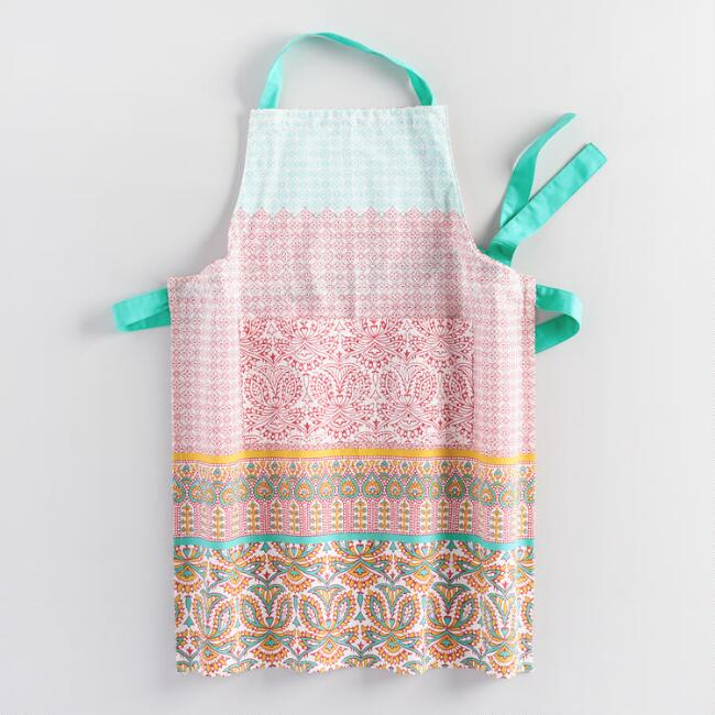 Coral and Aqua Preeti Striped Apron
