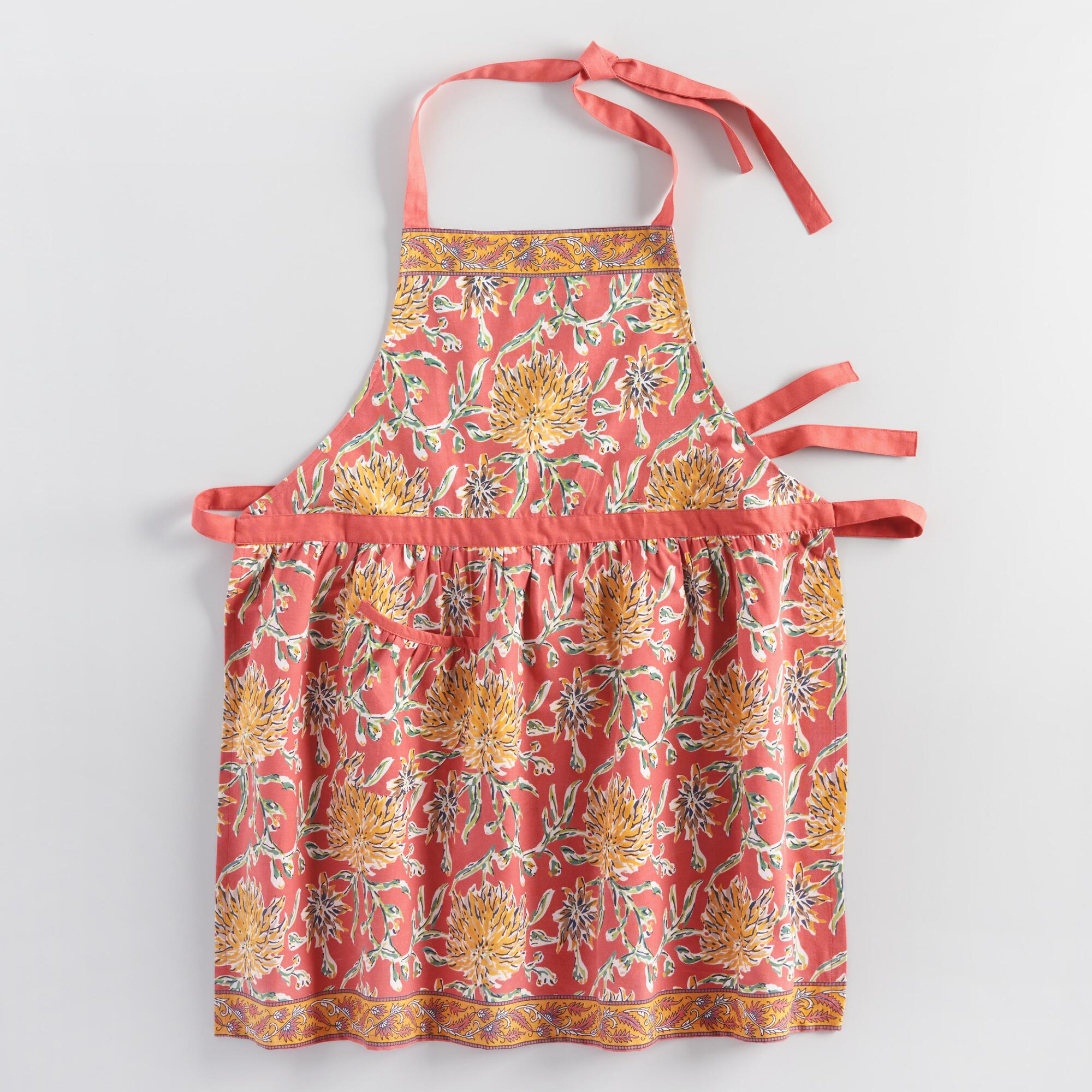 Coral Dahlia Floral Apron: Orange/Pink/Red - Cotton by World Market