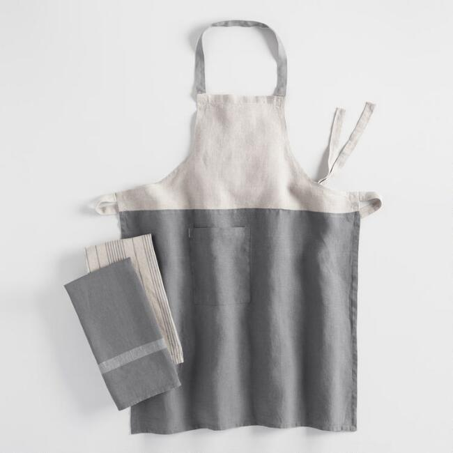 Gray and Natural Kitchen Linen Collection