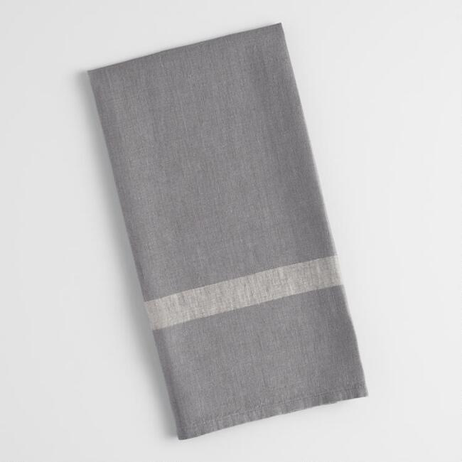 Gray and Natural Thick Stripe Kitchen Towel
