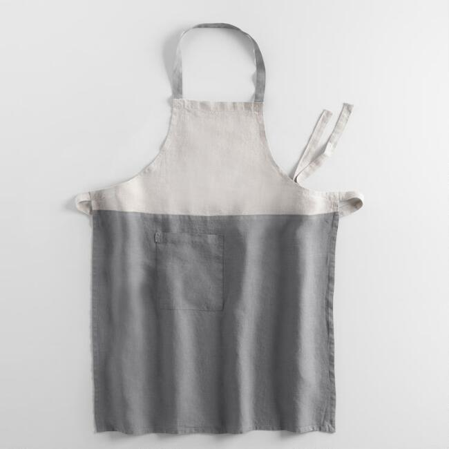 Gray and Natural Color Block Apron