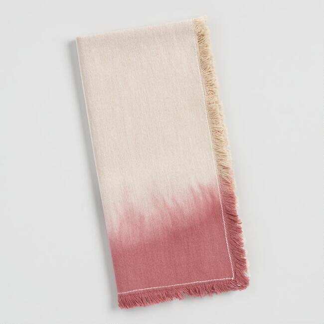 Pink Dip Dye Fringed Napkins Set of 4