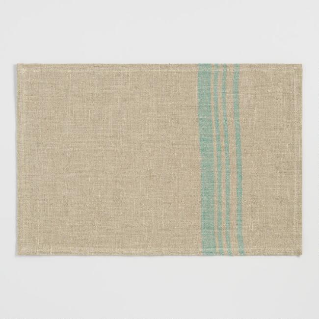 Teal Stripe Linen Placemats Set of 4