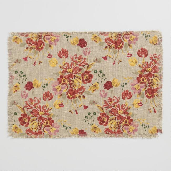 Floral Fringed Millie Placemats Set of 4